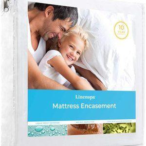LinenSpa Zippered Mattress Encasement, White- Full